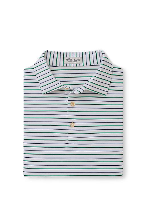 Peter Millar Fancy Polo (Green/Blue Stripe)