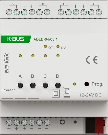 KNX 4 folds, 4A New LED Dimmer