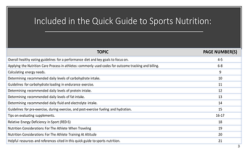 Quick Guide To Sports Nutrition Table of