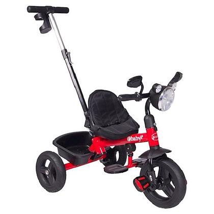 Triciclo Paseador Ebaby Con Manubrio Luz Música Porta Tetero Rojo