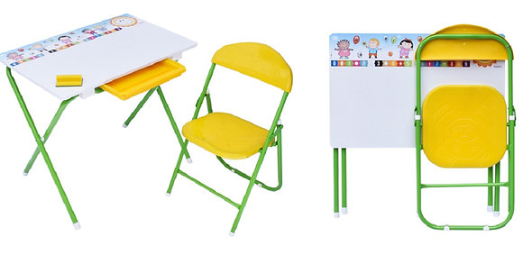 Set Kinder Garden Tablero + Escritorio + Silla Verde Amarillo