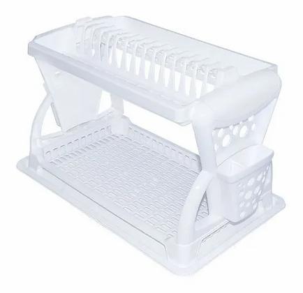 Locero Escurridor Platero Organizador Platos Doble Nivel Blanco