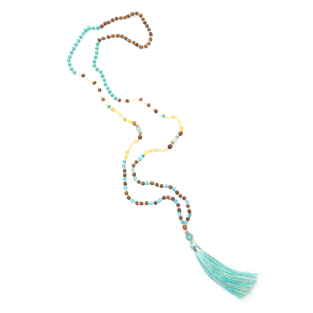 3 Balinese ladies meticulously hand knot and make TRIBE + FABLE tassels. A colour specialist and heal-er sources the best semi-precious stones and pearls, so each necklace is different and unique. £30 - £75, Eclectic