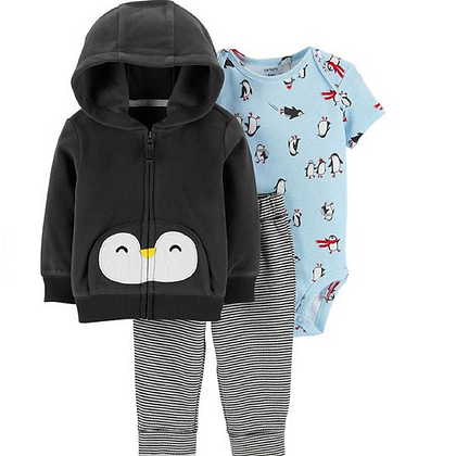 Conjunto 3 Pzs Pinguino Gris