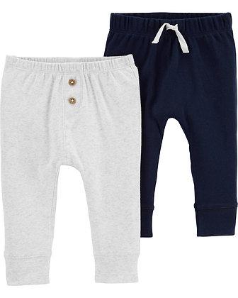 Set 2 Pcs Carters Pantalon Azul Beige