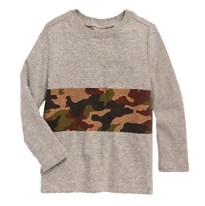 Camisetas Franelas Manga Larga Para Niño Old Navy Original Militar Gris