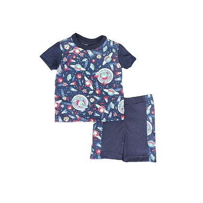 Pijamas Excelente Calidad Fk Pantalón Short Espacio Azul
