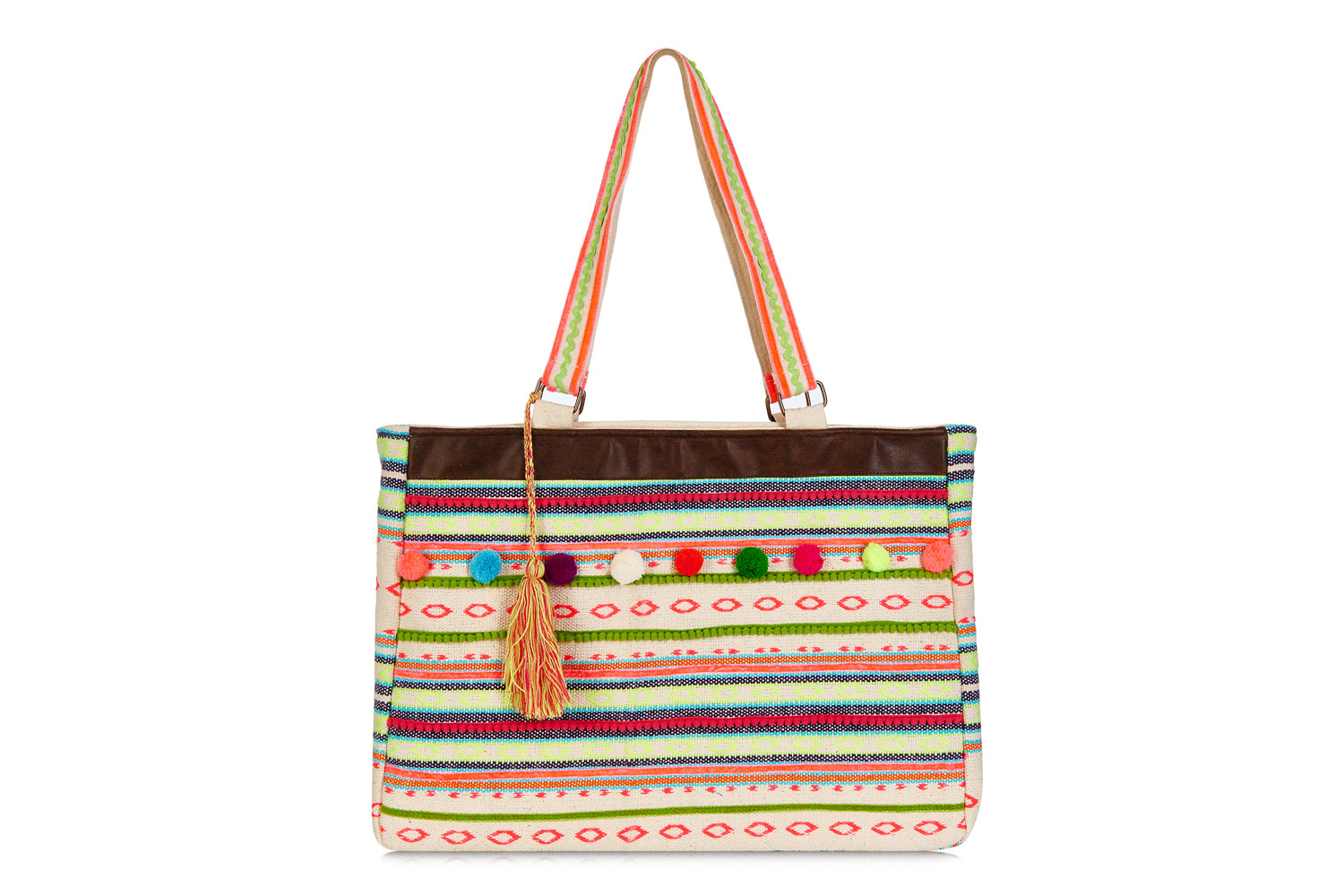 This bright and vibrant collection of bags will leave you feeling all summery. Handwoven from a cotton blend, choose from a multi coloured large tote with neon yellow fringing £75, a striped beach bag with fun pom-poms £45 or a funky clutch with a large tassel zip £30. Made with lots of care and attention to detail, you won't want to leave the house without one! Available at ChiChi Boutique, St Aubin