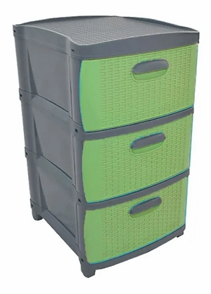 Cajonero Organizador Dubai 3 Gavetas Gavetero Plástico Gris Verde