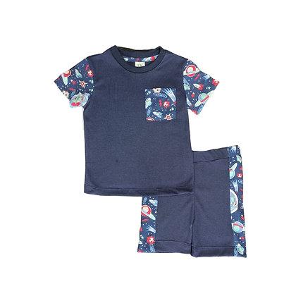 Pijamas Excelente Calidad Fk Pantalón Short Espacio Azul Con Bolsillo