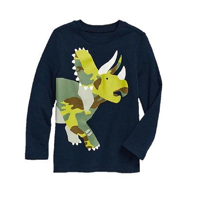 Camisetas Franelas Manga Larga Para Niño Old Navy Original Azul Triceratops