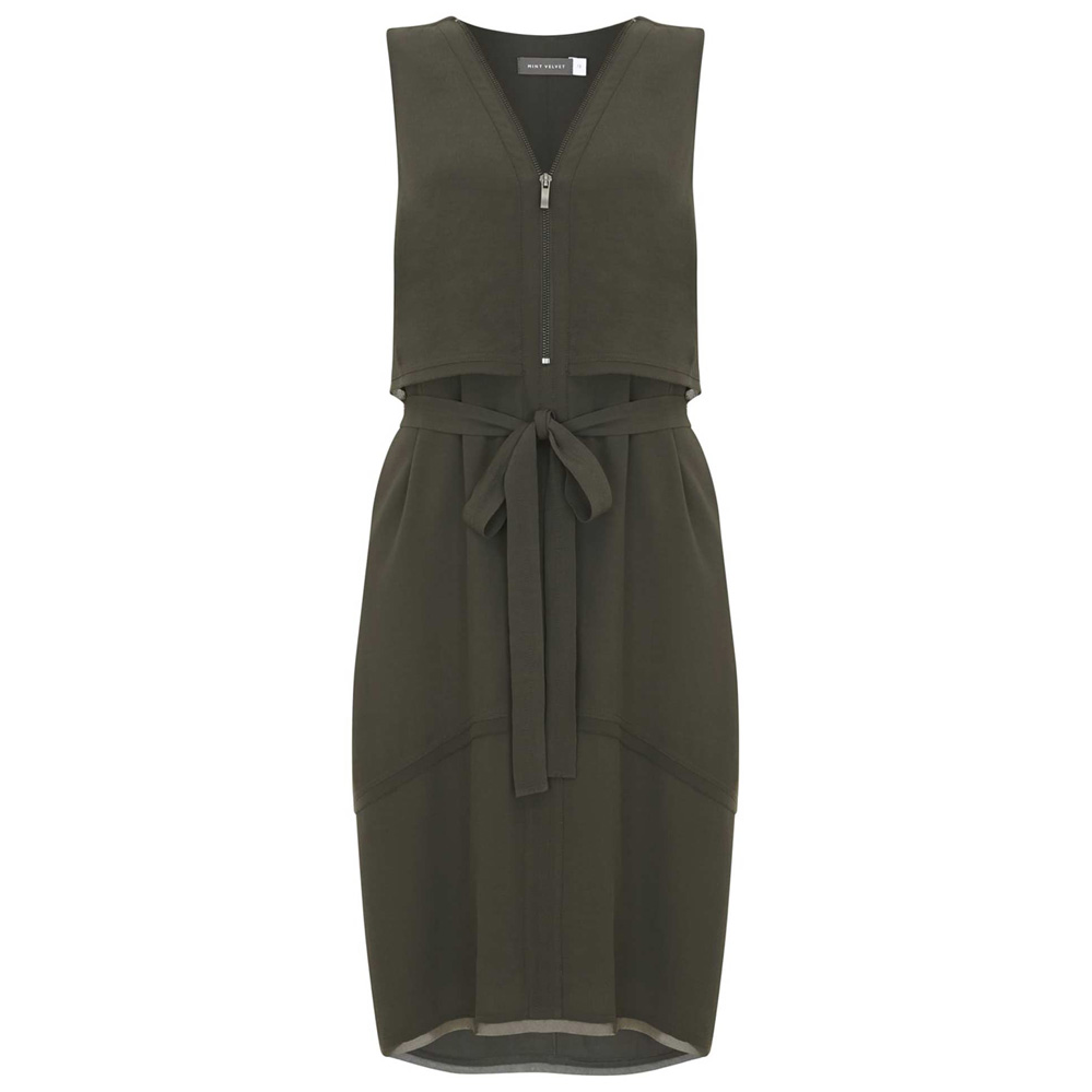 Choose from a jungle of earthy tones UTILITY DRESS £101, MINT VELVET AT DE GRUCHY