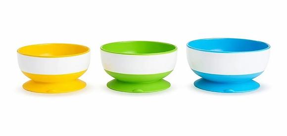 Set De 3 Platos Tipo Bowl Munchkin Bebés Niños Base Succión