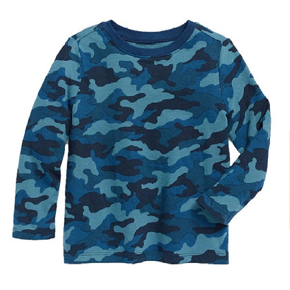 Camisetas Franelas Manga Larga Para Niño Old Navy Original Militar Azul