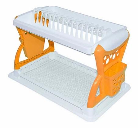 Locero Escurridor Platero Organizador Platos Doble Nivel Naranja Blanco