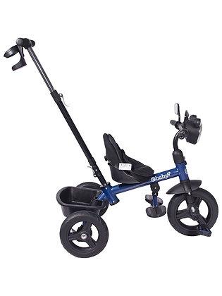 Triciclo Paseador Ebaby Con Manubrio Luz Música Porta Tetero Azul