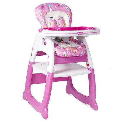 Mesa Silla Comedor Para Bebé 2 En 1 Tipo Escritorio Ebaby Rosado