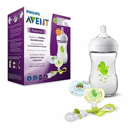 Set Regalo Tetero Avent Natural 9 Oz Dragon + 2chupos + Clip