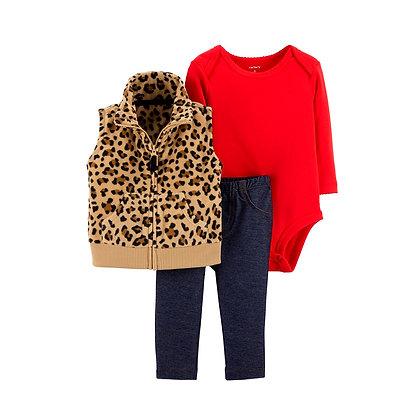 Conjunto 3 Pzs  Chaleco Tigre Body Rojo