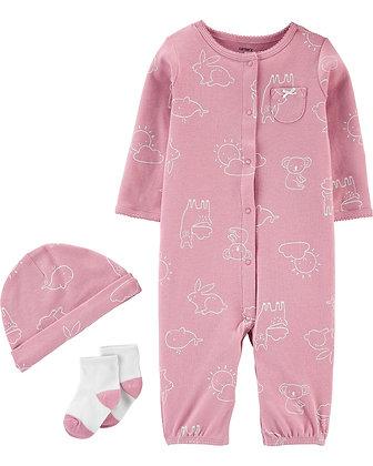 Set 3 Pcs Carters Pijama Conejo Rosa Viejo