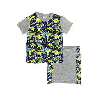 Pijamas Excelente Calidad Fk Short Dino Gris