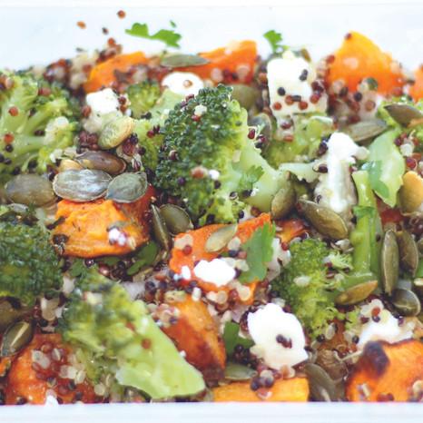 Spiced butternut squash, feta & broccoli quinoa
