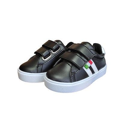 Zapatos Tenis Para Niños Cierre Mágico Velcro FK Negro