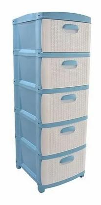 Cajonero Organizador Dubai 5 Gavetas Gavetero Plástico Azul Blanco