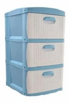 Cajonero Organizador Dubai 3 Gavetas Gavetero Plástico Azul Blanco