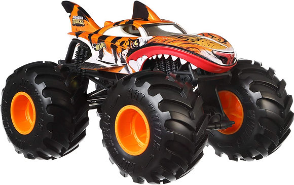 Hot Wheels Auto Carro Monster Trucks Tiger Shark Escala 1:24