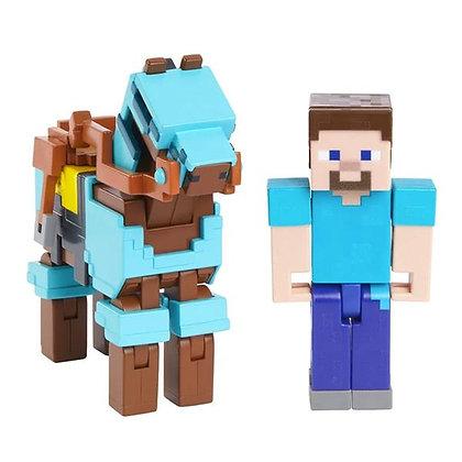 Minecraft Steve Y Caballo Blindado Original Mattel