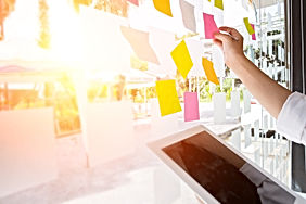 business people post it notes to share i