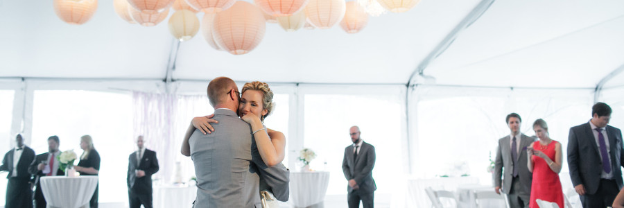 First Dance Under Paper Lanterns and Petite Chandeliers