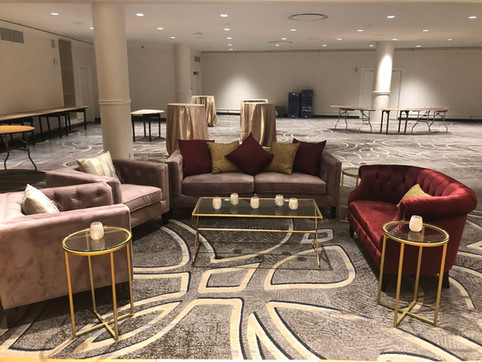 Blush and Burgundy Velvet Lounge Area