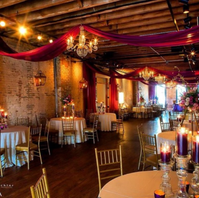 Crystal-Beaded Chandeliers with Draping
