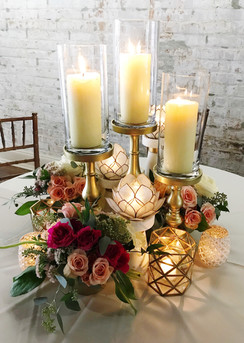 Gold and Marble Pillars with Lotus Blossom Accents