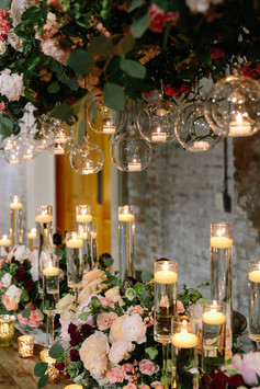 Hanging Bubbles with Chimney Stemmed Candles
