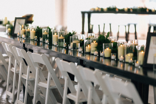 Farm Table with Pillars and Floating Candles