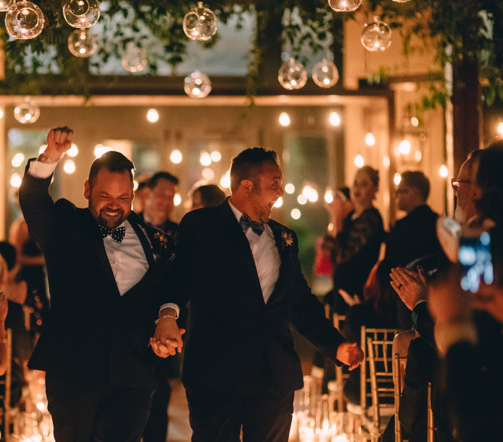Ceremony with Bubble Lights, Edison Bulbs, and Pillar Candles