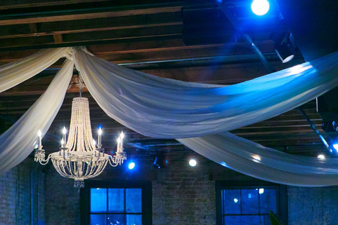 Draping and White Beaded Chandelier
