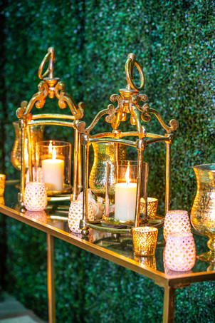 Gold Open Scroll Lanterns