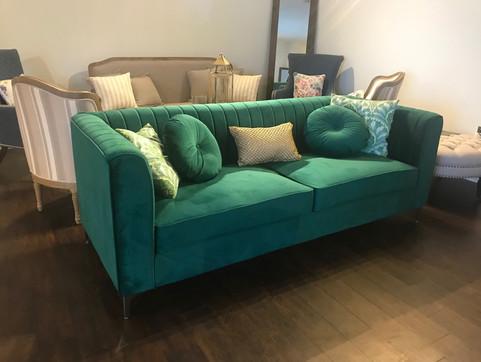 Emerald Velvet Sofa