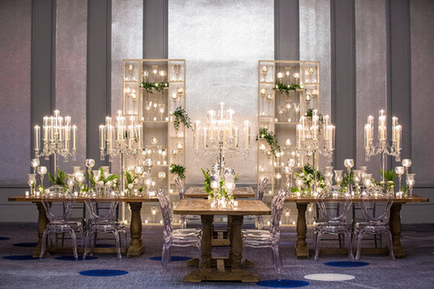 Crystal Candelabras, Candle Walls and Farm Tables