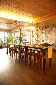 Dark Wooden Farm Tables - HiBoy Height