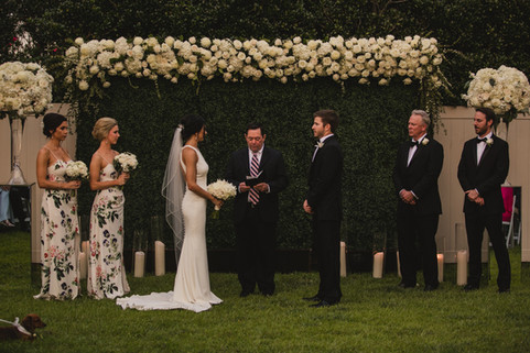 Hedge Wall and Clear Cylinder Ceremony