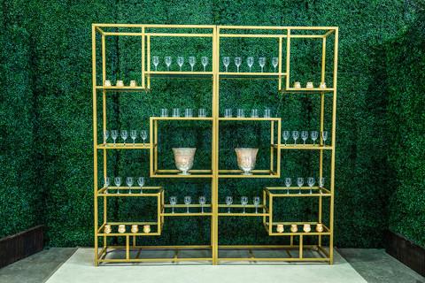 Gold Multi-Shelved Bar Back