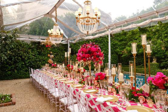 Various Height Brass Candlesticks, Athena Pillars, Rose Gold Stems and Rose Gold Votives