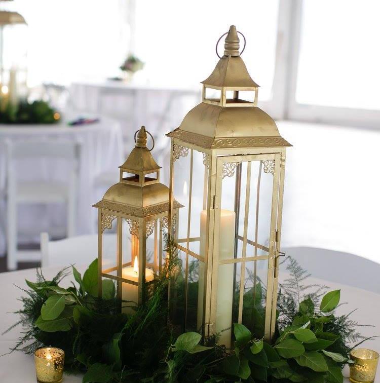 Decorative Gold Lantern Centerpiece