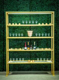 Gold Straight Shelf Bar Back
