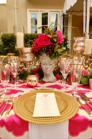 Athena Pillars, Rose Gold Stems and Rose Gold Votives